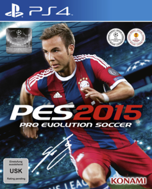 Pro Evolution Soccer 2015 - German PlayStation 4 cover featuring Mario Götze.