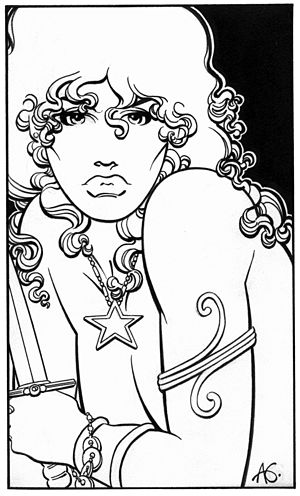 Al Gordon - Red Sonja ala Nagle/Mucha/Peter Max - Electric Nouveau.  Art by Al Gordon