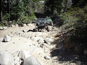 A Jeep climbing up the first part of Walker Hill