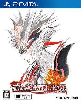 SaGa: Scarlet Grace - PlayStation Vita cover art featuring central antagonist the Fire Bringer.