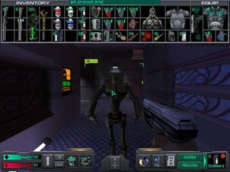 System Shock 2 - An in-game screenshot of the player armed with a pistol and facing a protocol droid while in the interface mode. The inventory is at the top; health, psionic points, nanites, and cyber modules are at the bottom left; and the cyber interface and weapon information are at the bottom right.