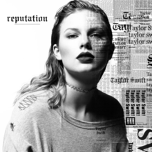 Black-and-white image of Taylor Swift with the album's name written across it