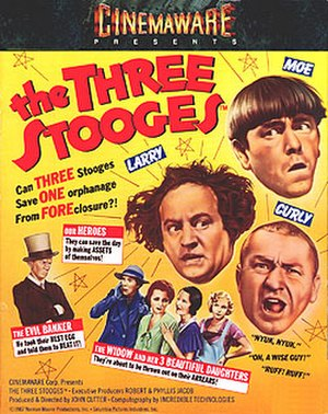 The Three Stooges (video game) - The Three Stooges box art featuring Moe, Larry and Curly