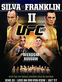 A poster or logo for UFC 147: Silva vs. Franklin II.