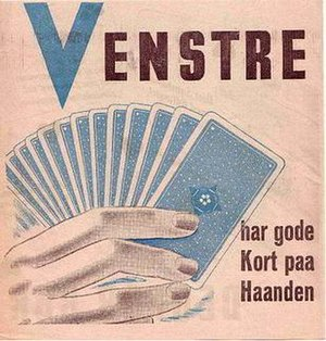 """Danish Folketing election, 1945 - Venstre 1945 election material (""""Venstre has good cards to hand"""")"""