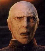 Lord Voldemort (voiced by Richard Bremmer) on the back of Quirrell's head in Harry Potter and the Philosopher's Stone