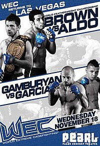 A poster or logo for WEC 44: Brown vs. Aldo.