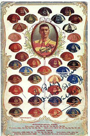 Bobby Walker (footballer, born 1879) - Image: 1900's Postcard showing Bobby Walker's Caps