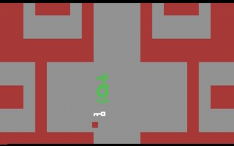 Action-adventure game - Gameplay from Adventure (1980), an early action-adventure game. This screenshot depicts the player (a red dot) in the catacombs of the White Castle, carrying the White Key and being chased by the green dragon, Grundle.