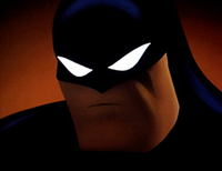"Batman as he was depicted in Batman: The Animated Series. Les Daniels described the show as ""[coming] as close as any artistic statement has to defining the look of Batman for the 1990s."""