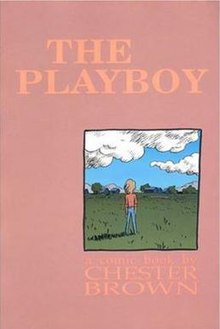 A mostly flat pink book cover with an inset image of a cartoon figure standing in a field facing away from the viewer