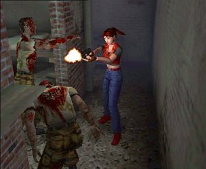Resident Evil – Code: Veronica - Claire Redfield firing at zombies. The environments are rendered in real-time, unlike previous games which used pre-rendered backgrounds.