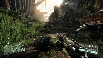Crysis 3 - A gameplay screenshot of the game. The screenshot shows Prophet using his compound bow, which is one of the new weapons introduced in Crysis 3.