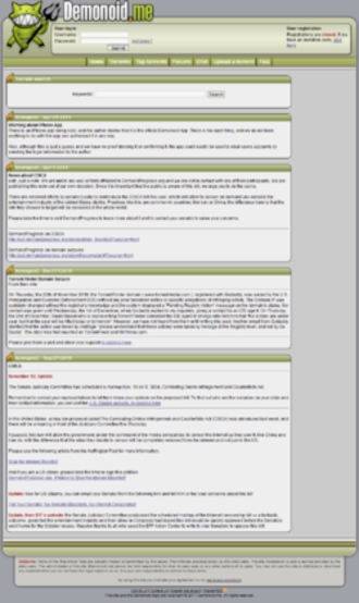 Demonoid - Image: Demonoid screenshot