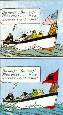 Two versions of a comics panel. A group of people are in a boat and are flying a flag. In the first the flag is American; in the second the flag has become red with a black cross.