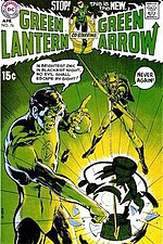 "Green Lantern vol. 2, #76 (April 1970).Start of the O'Neil/Adams run, a contendor for the first ""Bronze Age"" comic.Cover art by Neal Adams."