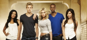 Hellcats - The main cast of Hellcats; from left to right: Heather Hemmens, Matt Barr, Aly Michalka, Robbie Jones, and Ashley Tisdale