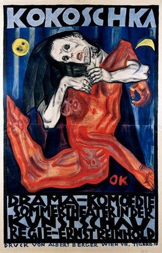 1909 in literature - Poster by Oskar Kokoschka advertising the première of his play