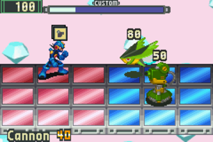 Mega Man Battle Network (video game) - Battles take place on a three-by-six grid. The player selects a Cannon Battle Chip for MegaMan.EXE (left) while fighting two viruses.