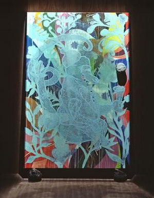 Tate's purchase of The Upper Room - Mono Turquesa by Chris Ofili, 1992-2002. One of thirteen paintings in The Upper Room.