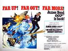 A man in a dinner jacket on skis, holding a gun. Next to him is a red-headed woman, also on skis and with a gun. They are being pursued by men on skis and a bobsleigh, all with guns. In the top left of the picture are the words FAR UP! FAR OUT! FAR MORE! James Bond 007 is back!