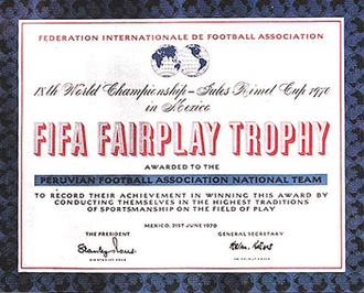 FIFA World Cup awards - Peru's FIFA Fair Play trophy award. Peru won the award after receiving no yellow or red cards in the tournament.