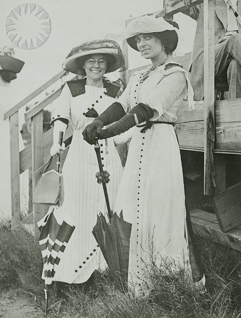 Portrait of Matilde Moisant (left) and Harriet Quimby (right) Circa 1911-1912