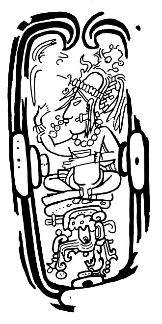 Maya maize god - Fig. 2: San Francisco Capstone depicting the Tonsured Maize God residing in a well.