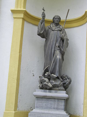Magnus of Füssen - Statue of St Mang of Füssen outside the Basilica of St Mang in Füssen, Bavaria.
