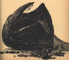 One of the earliest illustrations of a sandworm, by John Schoenherr (Analog, Jan 1965)