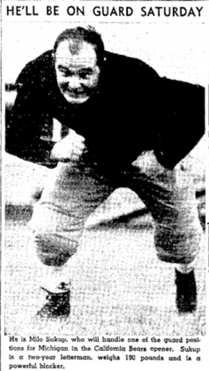 Milo Sukup - Sukup from Oakland Tribune, September 1940
