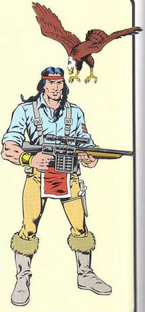 Spirit (G.I. Joe) - Illustration of Spirit and his pet bald eagle Freedom from G.I. Joe: Order of Battle. Art by Herb Trimpe.
