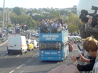 Torquay United F.C. - Celebratory open top bus tour following promotion back to the Football League