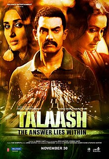 The poster features torso of Aamir Khan in centre while faces of Kareena Kapoor Khan and Rani Mukerji appear on left and right. The film title appears at bottom.