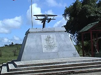 "Leticia Incident - War Memorial in Tarapacá, Colombia. Plaque reads,""To the Heroes of the Colombian Air Force; who with true courage gave the best of themselves; flying with their noble aircraft over river and jungle. Declaring over our Amazonia with the sound of their motors the sovereignty of our country during the war with Peru."""
