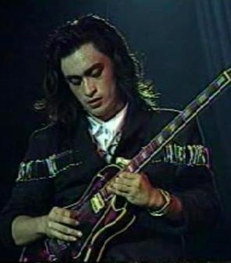 The Dawn (band) - Diaz doing a guitar solo in October 1987.