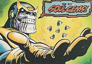 Infinity Gems - Thanos with the six Infinity Gems (here referred to by their original name, the Soul Gems)