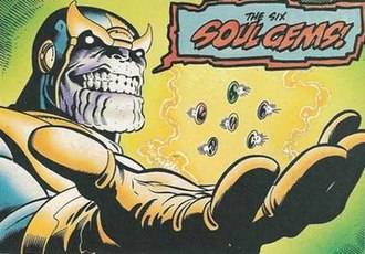 Infinity Gems - Thanos with the six Infinity Gems