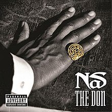 "A hand is set down on a tablecloth: a gold ring is worn on the little finger, whilst the words ""Nas"" and ""The Don"" have been superimposed onto the bottom right-hand corner of the picture."