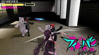 Danganronpa Another Episode: Ultra Despair Girls - Toko in Genocide Jack form, attacking a Monokuma enemy