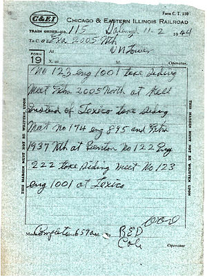 Train order operation - A train order issued in the United States in the 1940s