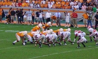 Georgia–Tennessee football rivalry - Erik Ainge and the Tennessee Volunteers offense lineup against Georgia.