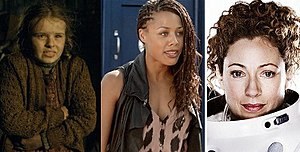 River Song (Doctor Who) - Three of the four actresses to portray River Song at different stages in her story. From left to right: Sydney Wade, Nina Toussaint-White and Alex Kingston.