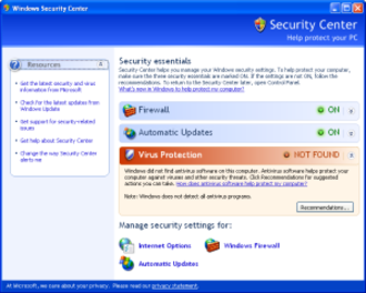Windows XP - Windows Security Center was added in Service Pack 2.