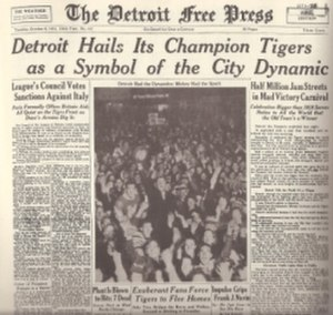 1935 Detroit Tigers season - Detroit Celebrates
