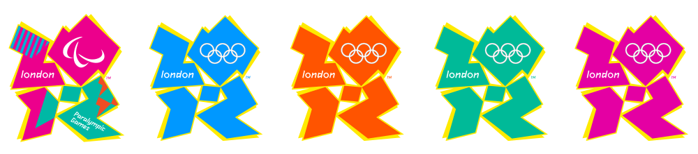 All five variations of the 2012 Summer Olympics logo, by Wolk Ollins