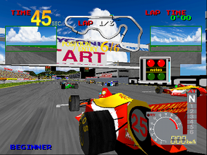 Ace Driver - The starting line of the game's race.