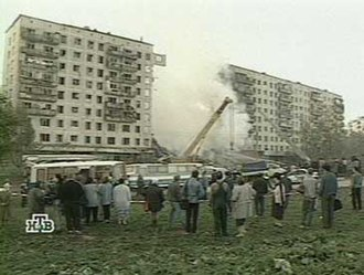 Russian apartment bombings - Bombing at Guryanova Street. One section of the building completely collapsed.