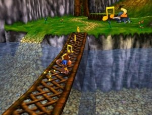 Banjo-Kazooie - Screenshot of Mumbo's Mountain, the first level in the game. Collecting musical notes grants players access to new inner sections of the game's overworld.
