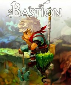 "A white-haired young man sits on a floating piece of grass, looking to the left. He is holding a giant gear, and has a large hammer strapped to his back. ""Bastion"" is written in white above his head."
